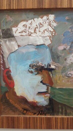 Emo Verkerk. Edgard Varese 2000 olieverf op triplex Gemeentemuseum DH #kleurontketend
