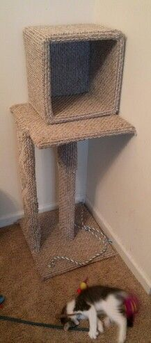 Diy Cat Tree Cost Me Less Than 20 Made From Small Plastic Baskets Wood Board Any Kind Of Carpet Nails Glow Gun And Staple