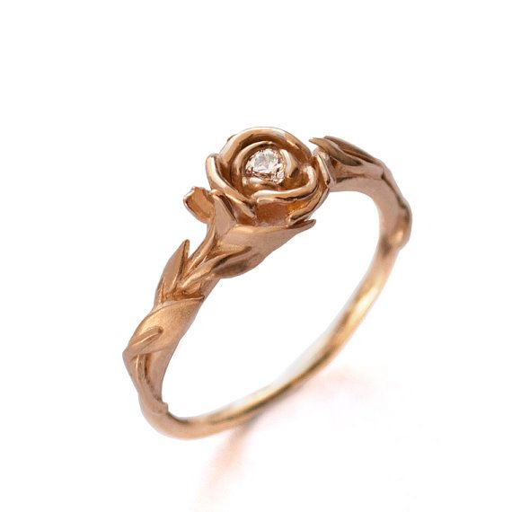 Rose Engagement Ring No.2 - 18K Rose Gold and Diamond engagement ring, engagement ring, leaf ring, flower ring, antique,art nouveau, vintage on Etsy, $680.00