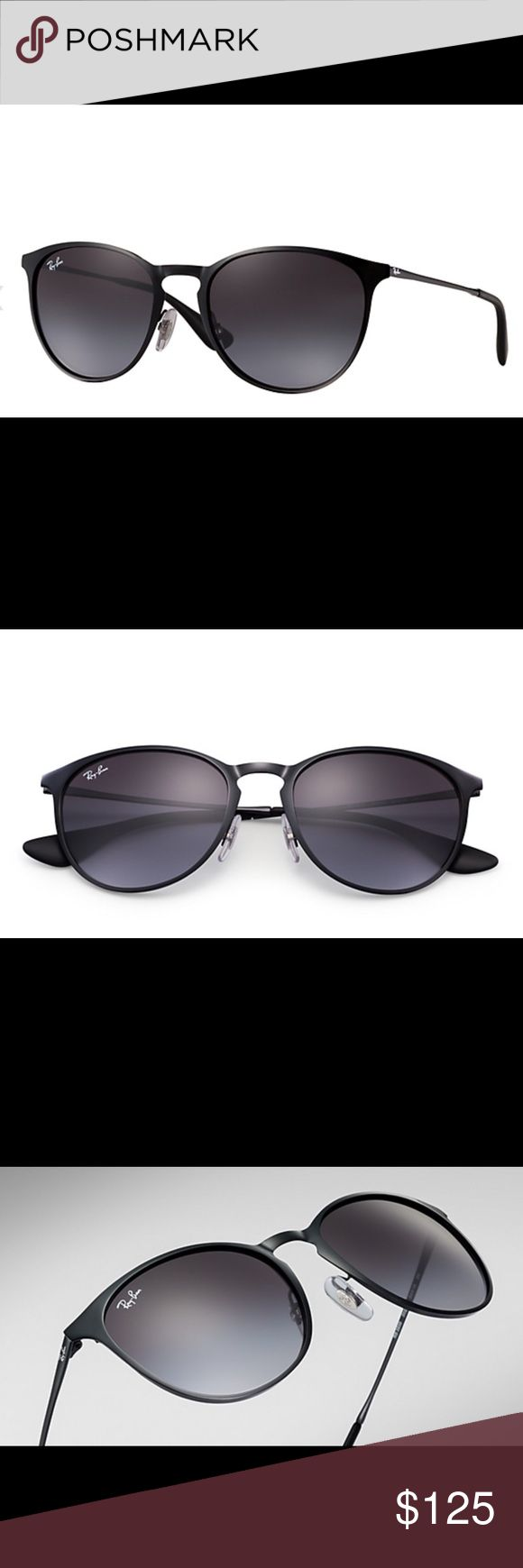 Ray Ban Erika Metal Ⓜ️ Never been worn brand new.  The lightweight frame are as comfortable and resilient as they are easy-to-fit.  Features are paired with gradient lenses for a total metal look that will let you reflect.  Frame material: Metal. Frame color: Black. Lenses: Grey Gradient. Shape: Pilot. Size lens-bridge: 54 19. Temple Length: 145. Comes from a pet/smoke free home. Also on Ⓜ️. Ray-Ban Accessories