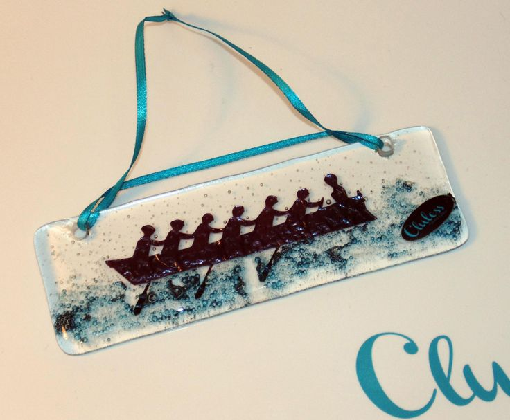 Hanging Suncatcher - Featuring a racing gig boat by ClulessFusedGlass on Etsy