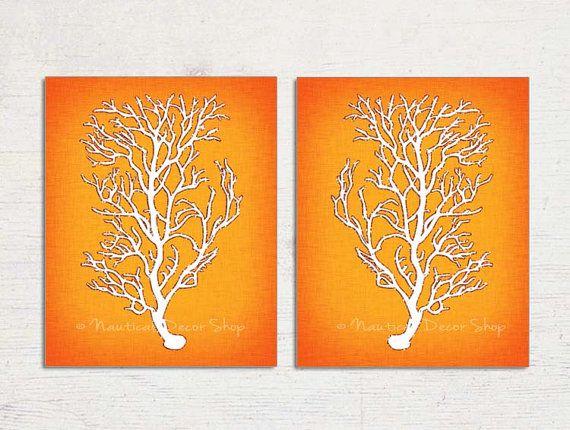 Orange Wall Art Orange Coral Orange Sea Coral by BeachHouseGallery, $19.99