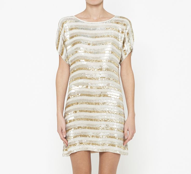 Tibi Cream, Silver And Gold Dress