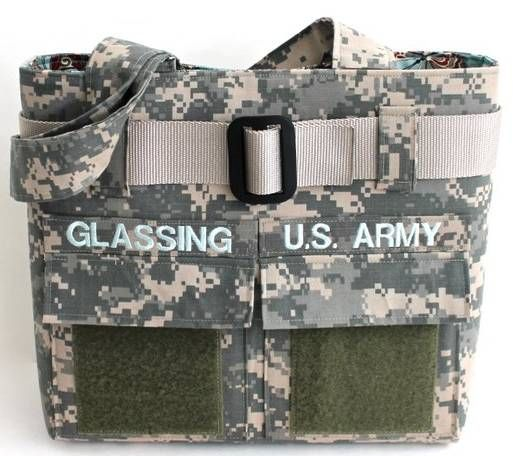 Single Adjustable Handle/Army Digital Camo With Web Belt Double Pockets on Front Optional Name Tape and Velcro Patch Adhesive on Pockets. Optional Embroidery http://atl2105.wix.com/mymilitarylove