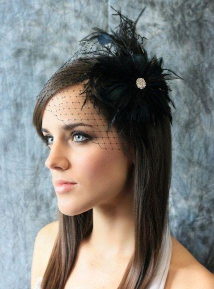 Star Black Birdcage Veil Fascinator  Set - Star Black Feather Fascinator with Veil - Black Hair Flower Clip