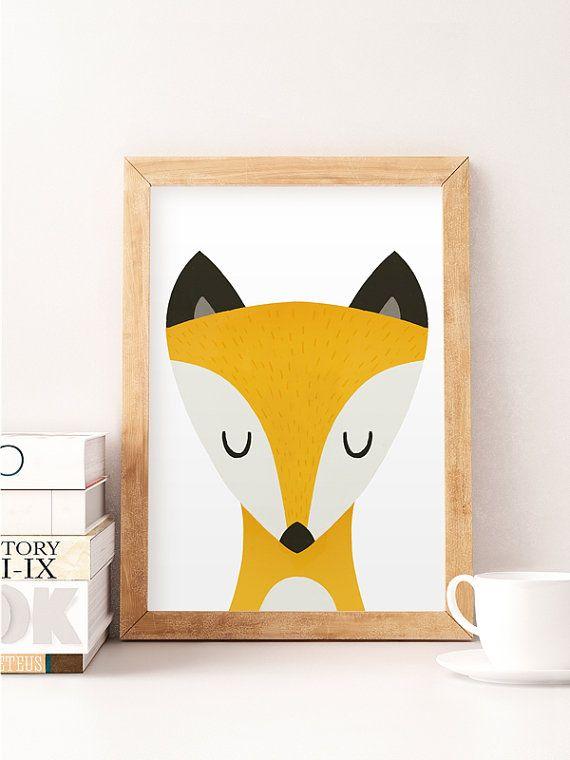 Fox print, Fox nursery print, Nursery wall art, Wildlife nursery, Animal nursery print, Boy nursery decor, Watercolor fox print