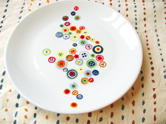 Decorative hand painted porcelain plate - Humming buttons - colorful and cute
