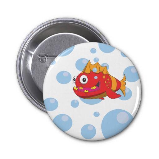 Red fish cartoon pin