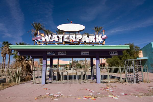 Located on Lake Dolores east of Barstow along historic Route 66, the Rock-A-Hoola Waterpark was abandoned in 2004 when an employee suffered an injury on one of the rides.
