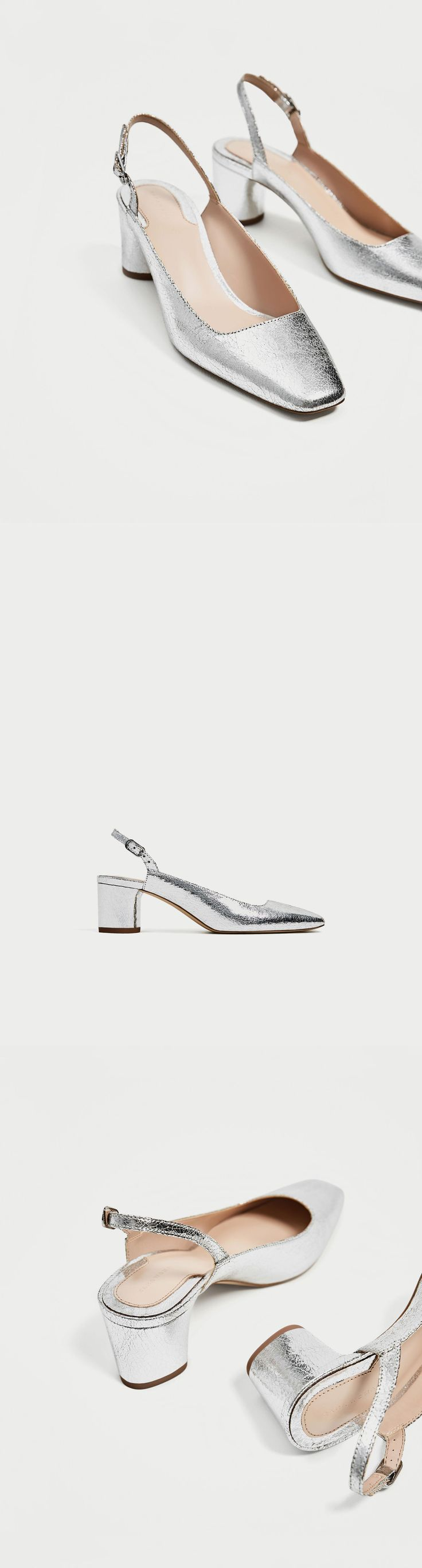 Silver Slingback Court Shoes // clojure.lang.LazySeq@f89e5cee // Zara // Backless, kitten heel shoes in a silver colour. Squared toe. Round heel. Fastens with a mini buckled strap around the ankle. Heel height is 6 cm.