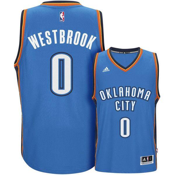 Men's Adidas Oklahoma City Thunder Russell Westbrook Swingman NBA... ($110) ❤ liked on Polyvore featuring men's fashion, men's clothing, men's activewear, men's activewear tops, light blue, mens sleeveless cycling jersey, mens nba jerseys and mens jerseys