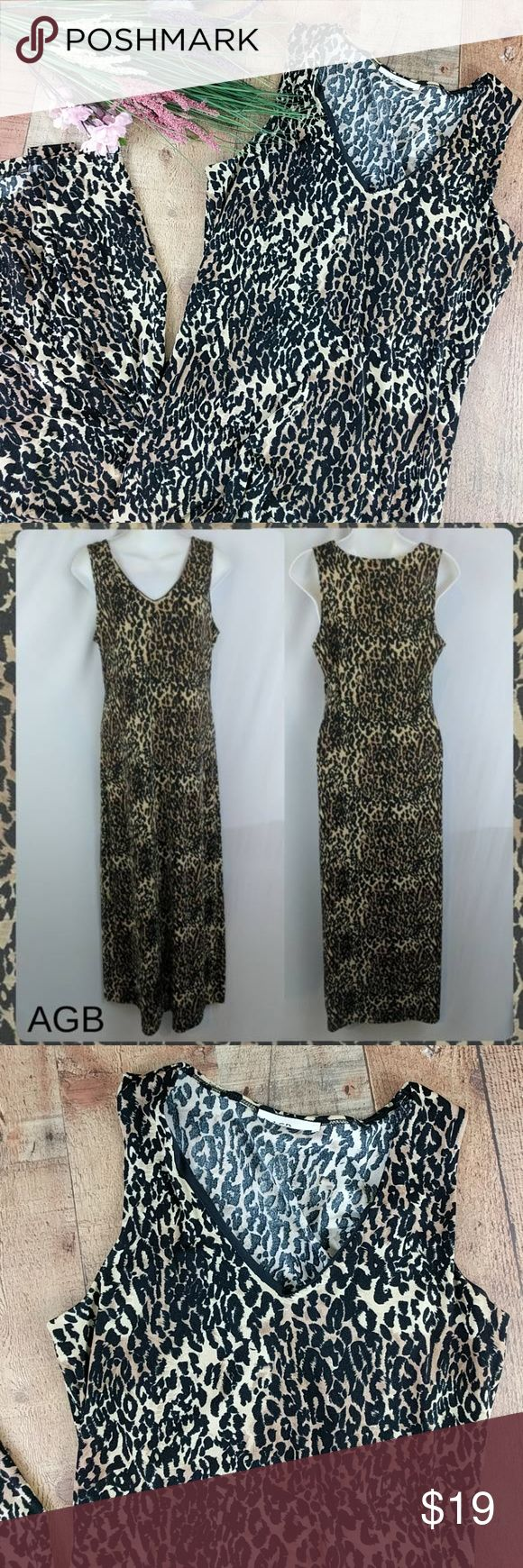 """Leopard Print Maxi Dress Sleeveless Sz M AGB leopard animal print. Very stretchy and flows beautifully. You can tell from the torn tag that it's AGB brand but there are no other tags. It measures at a size medium but please see all measurements for proper sizing. Chest around at underarms 36"""". Waist measures 33"""" around. Hips measure 40"""" around. Dress is contouring. Flattering fit with comfort stretch. Unlined but not sheer. Chest area is lined. Length from shoulder 53"""". Clean, excellent…"""