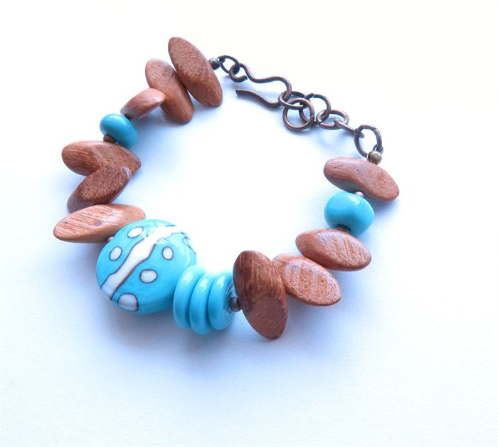 Poetry blue lampwork & wood bright colour beaded bracelet | sasha+max studio | madeit.com.au