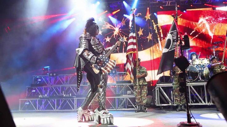 Gene Simmons Playing American Flag AXE Bass July 4th KISS Show Tucson AZ 2016