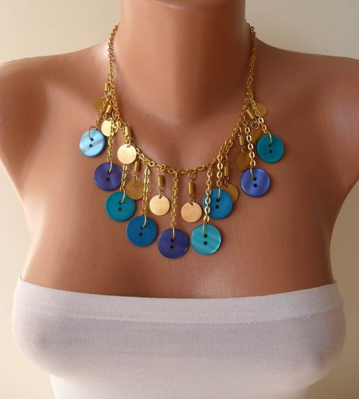 Diseño de moda botón collar con cadena en color por SwedishShop