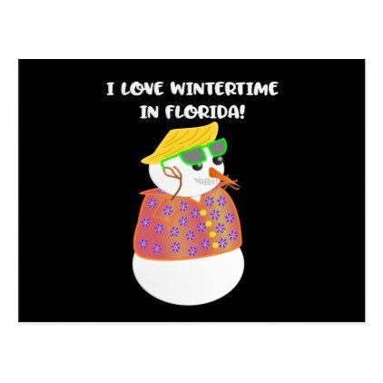 Winter In Florida Snowbird Snowman Postcard - postcard post card postcards unique diy cyo customize personalize