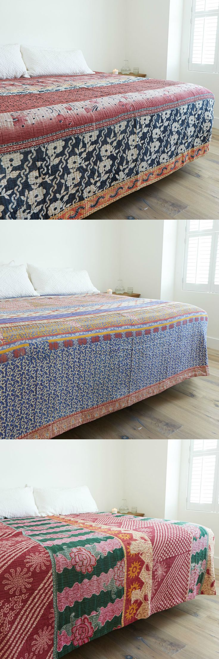 Choose the perfect one-of-a-kind Kantha quilt for your bedroom.
