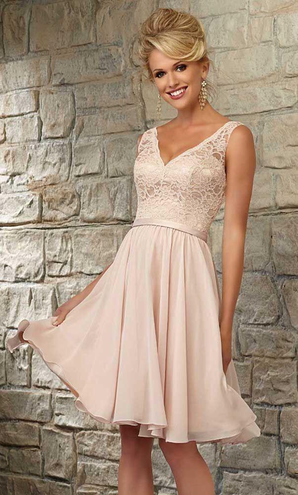 V-Neck Short Lace Cheap Bridesmaid Dresses UK