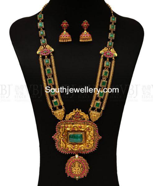 Ruby Emerald Haram with Nakshi Pendant photo
