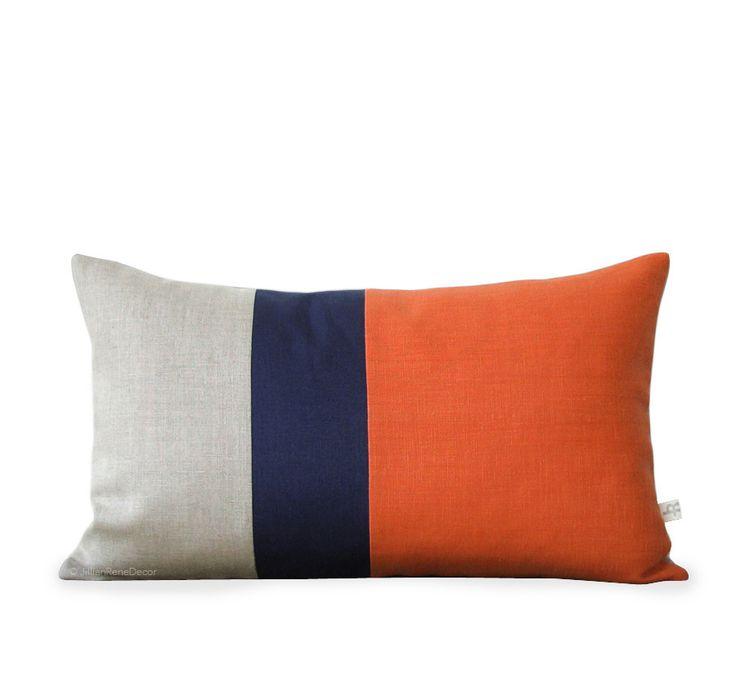 Colorblock Pillow - Orange/Navy/Natural