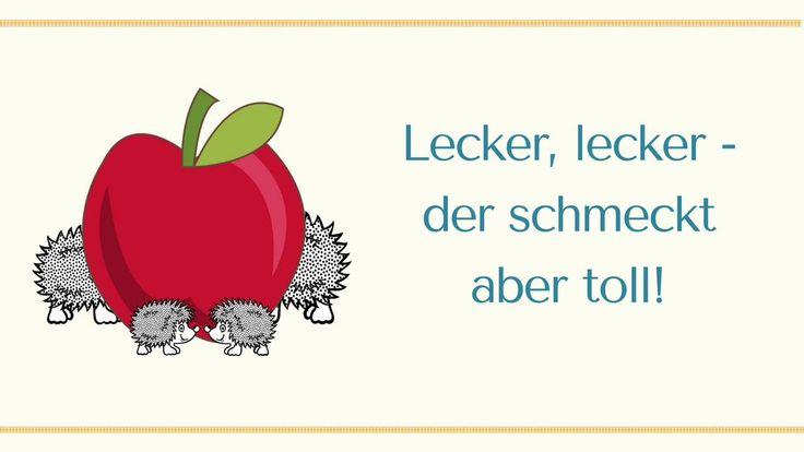 """""""Lecker, lecker - so ein schöner Apfel""""  (Kita-Kiste) - passt zum Gedicht in Dialogform """"Der rote Apfel"""" (Igelpapa, Igelmama und Kinder) - für eine zuckersüße Aufführung"""