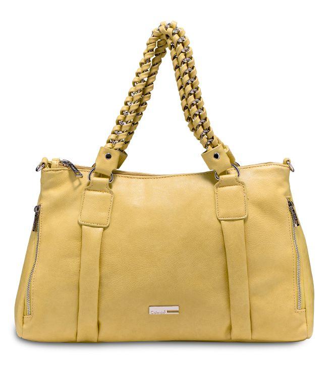 Rosa:Grintosa handbag dalle linee morbide con manici in catena profilata e cerniere a vista. #bag #ss2015 #caleidos #fashion