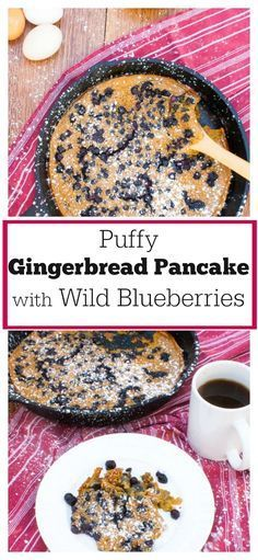 Puffy Gingerbread Oven Pancake with Wild Blueberries