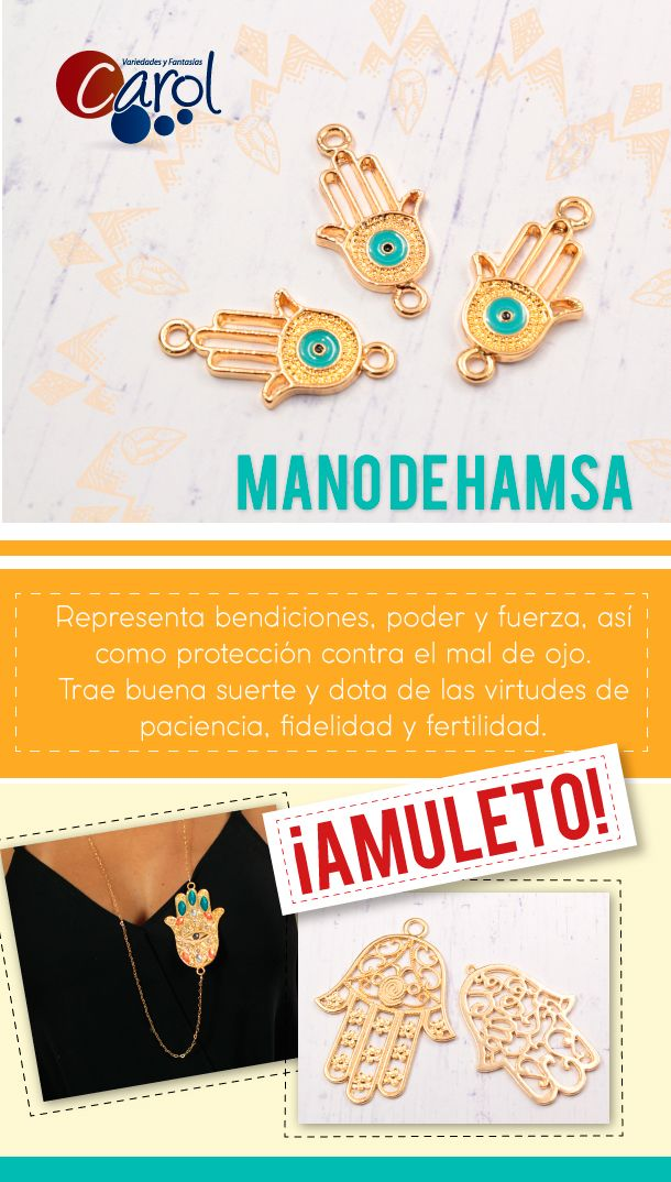 La #ManoHamsa es un amuleto utilizado desde hace muchísimos años por sus poderes de protección contra el mal de ojo. #Amuleto #Protección #Hamsa #Fátima #ManoFatima #Herrajes #VariedadesCarol