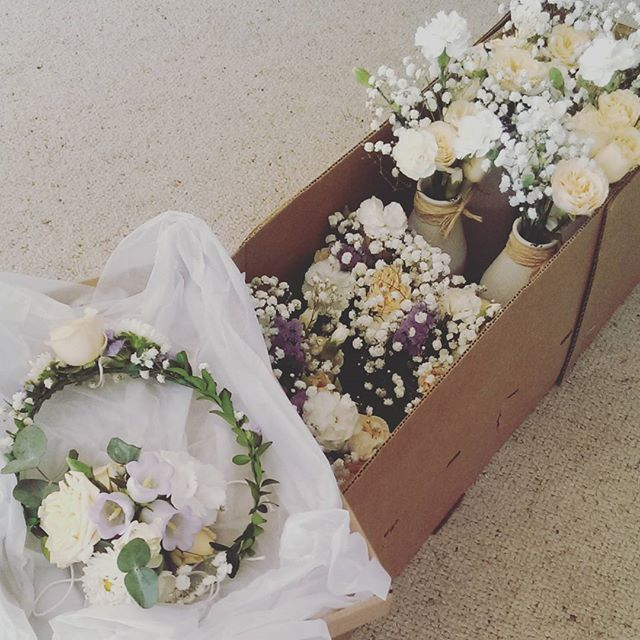 Sweet baby shower florals from the weekend  All packed ready to go!