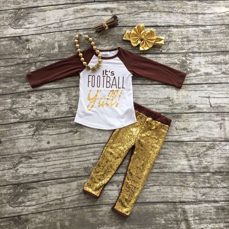 It's Football Y'all Outfit With Gold Sequin Pants, Necklace, and Matching Hair Bow For Toddler and Girls