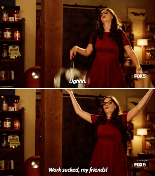 """When she was each and every one of us at the end of a long, crappy day.   24 Times Jess From """"New Girl"""" Was 100% Actually You"""