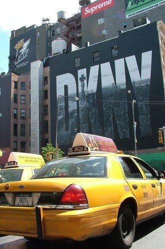 DKNY ad & yellow cab ~ NYC