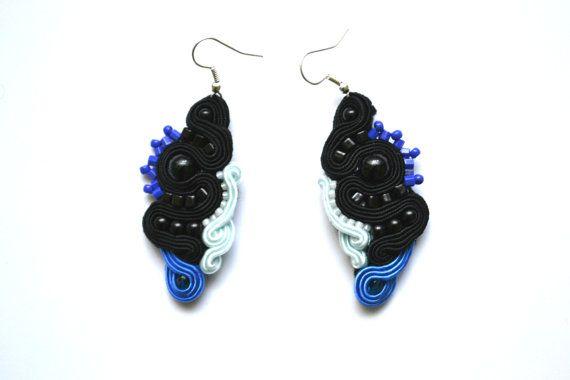 Soutache earrings with glass Elements by StylazkaSoutache on Etsy