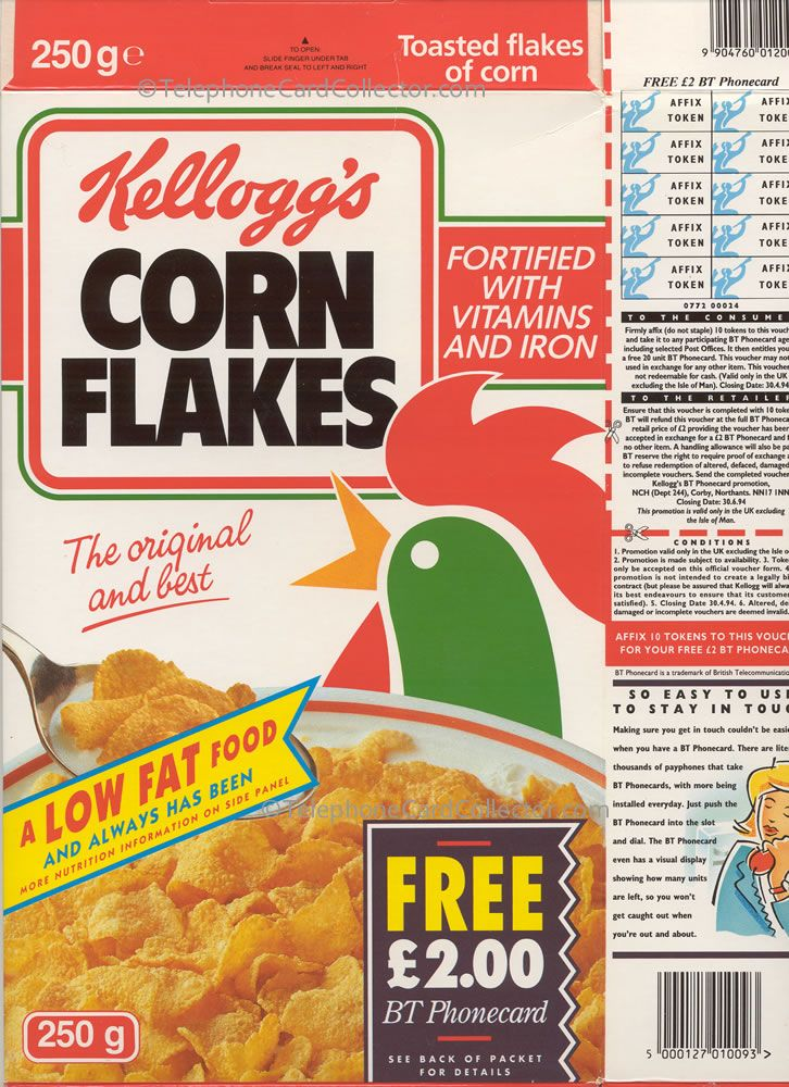 The hook for so many telephone card collectors here in the UK in 1992/1993. Collecting tokens on Kellogg's Corn Flakes packets entitled you to claim a FREE £2 Corn Flakes BT Phonecard. Front of packet