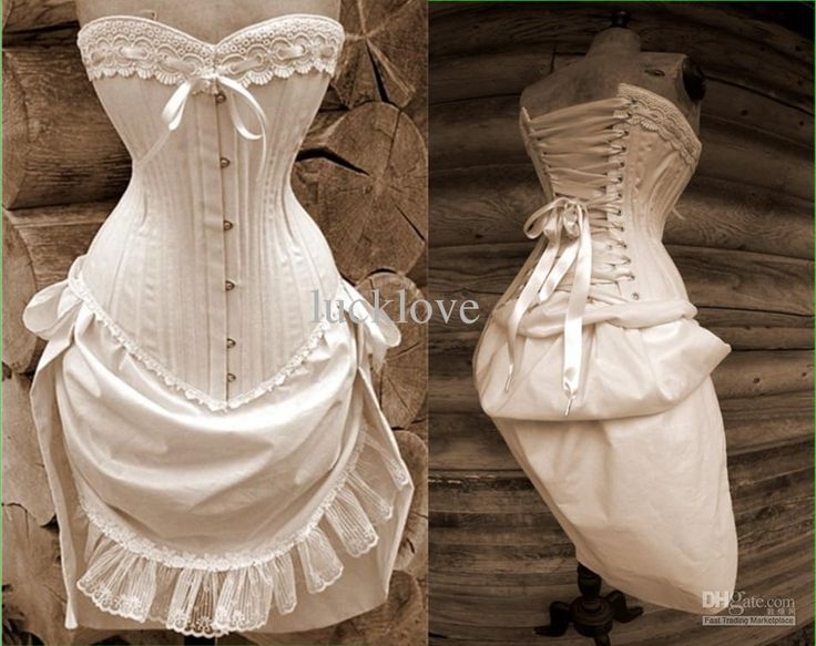 Wholesale A-Line Wedding Dresses - Buy Custom Made Rustic Wedding Dress Natural Cotton Corset And Bustle Skirt Steampunk Knee-Length Vintage Bridal Dresses Lace, $212.0 | DHgate