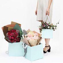Bolsa de papel de regalo de flor cuadrada de una pieza cajas de embalaje de flor…