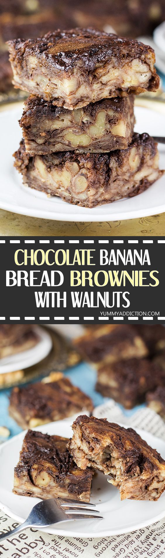 These Chocolate Banana Bread Brownies also feature walnuts and are comforting, dense, and super moist! They are guaranteed to make any day better! | yummyaddiction.com