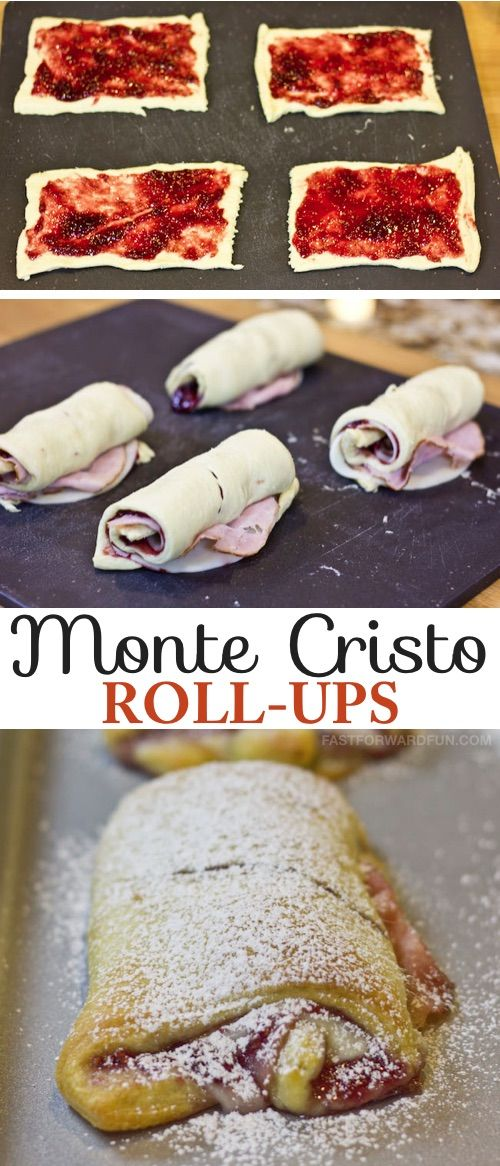 4 Ingredients! These Monte Cristo Roll-Ups are SO GOOD!