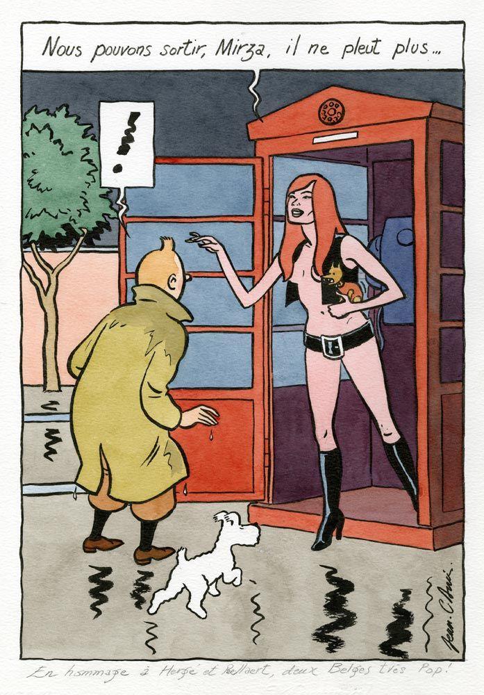 Jean-Claude Denis Dessin inédit en hommage à Hergé intitulé Tintin, Milou, Prauda et Mirza 2008 23 x 33cm encre de chine et encres de couleur