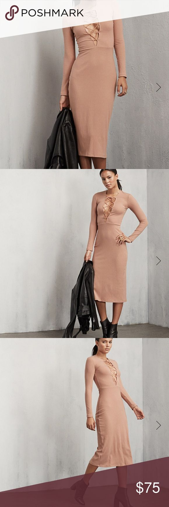 Reformation Edison nude ribbed dress Cute nude long dress by reformation **check out my Instagram @brieharding to see my closet in motion. Everything in my closet has been curated with love and I rock it myself! Reformation Dresses Maxi
