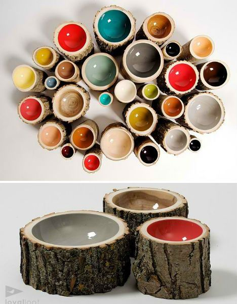 Fallen tree branches and trunks have been reclaimed by Doha Chebib of the Loyal Loot Collective and turned into beautiful decorative bowls with glossy painted centers.  These would make an awesome outside dog bowl.