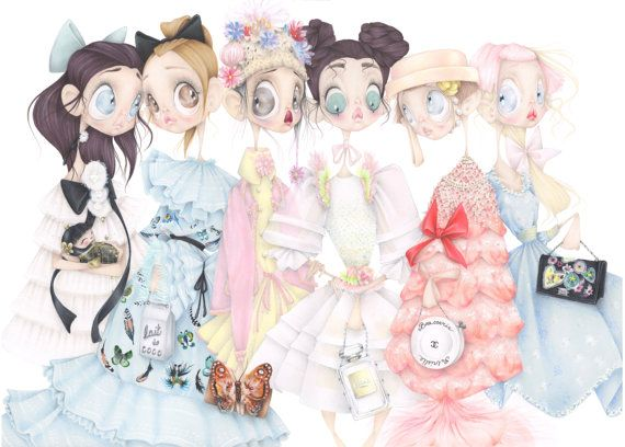 Chanel pop surrealism fashion illustration pastel art print