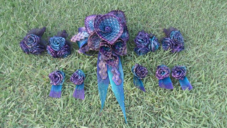 Flax flower wedding bouquets