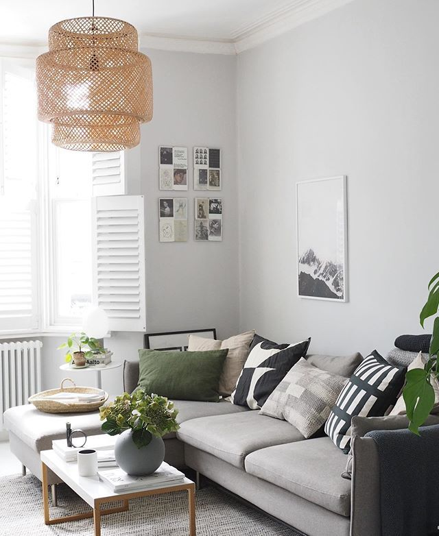 Light Scandi Style Living Room With Pale Grey Walls A L Shaped Grey Sofa And Green D Green Living Room Decor Green Cushions Living Room Grey Walls Living Room