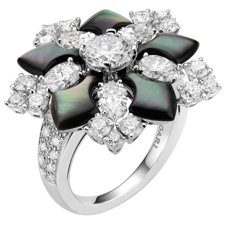 black mother of pearl and diamond ring by bulgari
