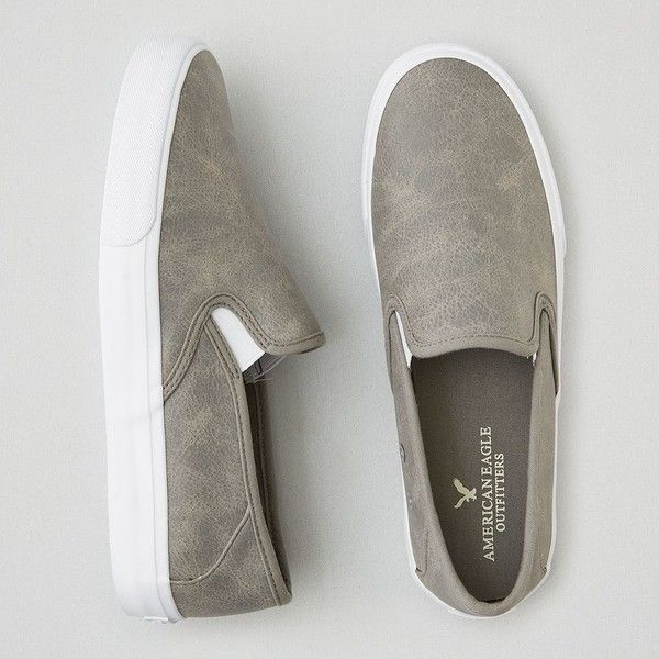 AEO Slip-On Sneakers ($30) ❤ liked on Polyvore featuring men's fashion, men's shoes, men's sneakers, men shoes, grey, mens slip on sneakers, mens grey sneakers, mens slip on shoes, mens sneakers and mens grey shoes
