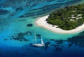 природа, лодка, парус, океан