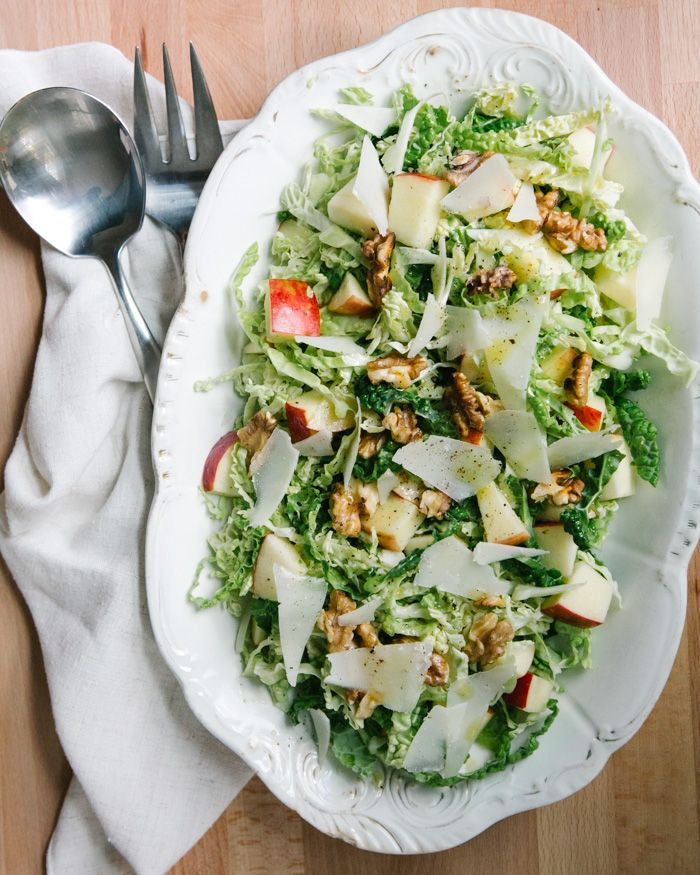 Apple, Walnut, and Savoy Cabbage Salad | a Couple Cooks | A healthy Thanksgiving side dish recipe