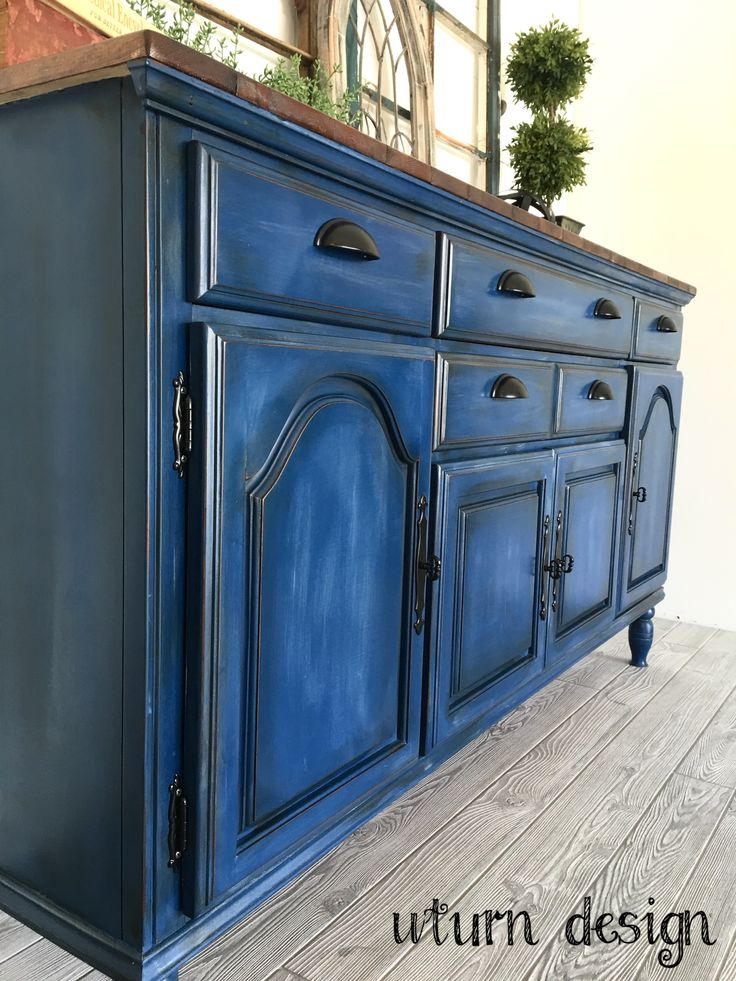Navy Blue Buffet By Uturn Design In 2019 Blue Distressed Furniture Paint Furniture Painting