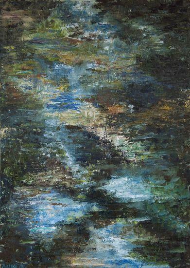 Waterspiegeling winter. Water reflexions - winter. Oilpainting on linnen. Size: 100 x 70 cm. FOR SALE: € 350,00 Part of a series: water reflexions.
